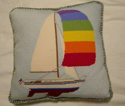 """Nautical, Sailboat  FINISHED Pillow NEEDLEPOINT 14"""" square EXCELLENT!!"""