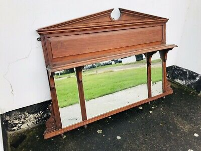 Antique Victorian Mahogany Mirror Over Mantle Large Bevelled Edge Uk Delivery