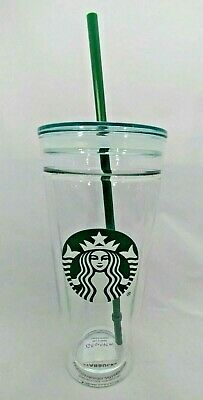 Starbucks Venti Clear Glass Double Wall Cold Cup Tumbler 20 oz Brand New, Rare