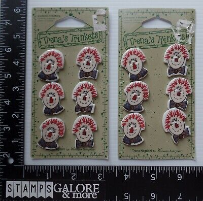 Trena's Trinkets Westwater 12 Decorative Raggedy Ann Andy Heads Buttons