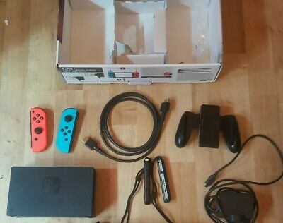 Official genuine nintendo Switch dock with joycons straps hdmi and power supply