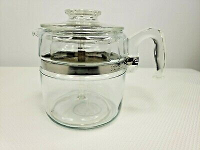 Vintage Pyrex 7756 6 Cup Glass Flameware Stovetop Coffee Pot Percolator Lid