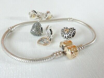 Authentic Pandora Silver & 14ct Gold Barrel Clasp Bracelet 590702HG with charms