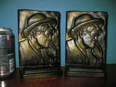 Antique Will Rogers cowboy humorist Dust Bowl bookends, cast iron, 10 lbs, 1936