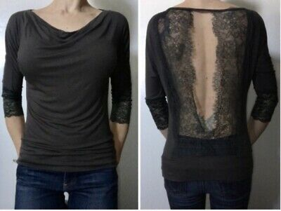 Red By BKE Cowl Neck Open Back Lace Top Size Large