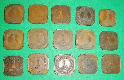 Various Malaya Straits Settlements 1 cent square coins