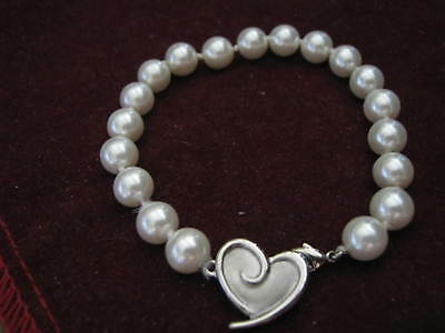 """MARY KAY 7 3/4"""" Individually Knotted 8mm Pearl Bracelet w/ Heart Logo Clasp LQQK"""