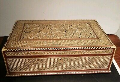 Antique Moroccan inlaid Mother Of Pearl & Wooden Gentleman's Chest. NR