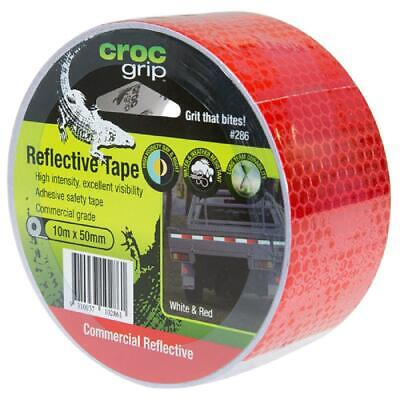 CROC GRIP ~ REFLECTIVE ADHESIVE SAFETY TAPE 10m x 50mm WHITE & RED