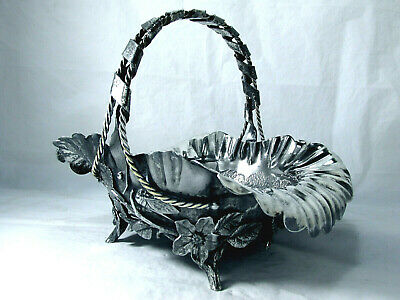 1860Ahestetic Simpson Hall & Miller  Pastry Centerpiece Ruffled Branched Leafed