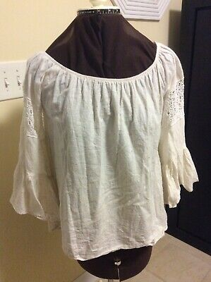 Women's Boho Off White With Color Specks Altar'd State Top Size S