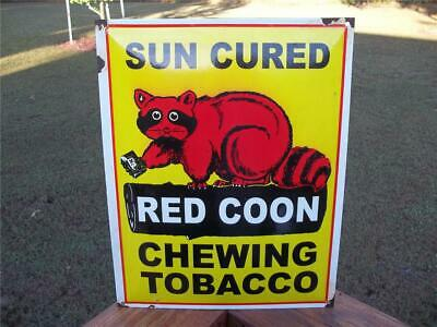 Old Red Coon Tobacco Porcelain Advertising Sign Cured Chewing Tobacco Store Sign