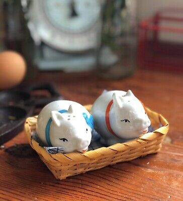 Adorable Vintage Novelty Pig Salt And Pepper Shakers In Basket