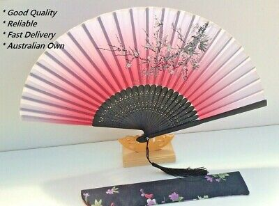Japanese Silk Hand Fan - Cherry blossom n Sakura with Silk Fan Holder SSF010
