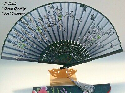 Japanese Silk Hand Fan - Cherry blossom n Sakura with Silk Fan Holder SSF013