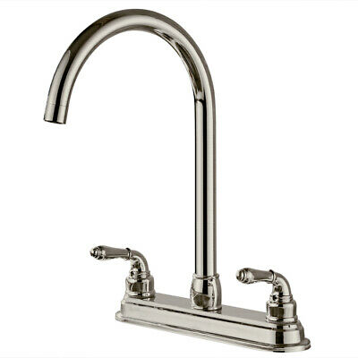 2-Handle Fixed Faucet Sink Water Tap Stainless Steel Dual Hole Faucet Kitchen