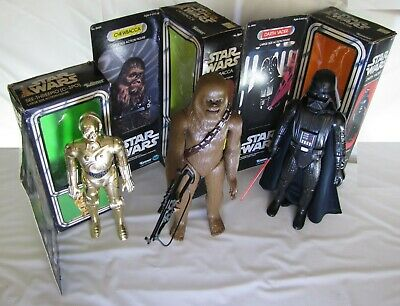 1978 Star Wars Kenner Large Action Figures with Boxes Darth Vader C3PO Chewbacca
