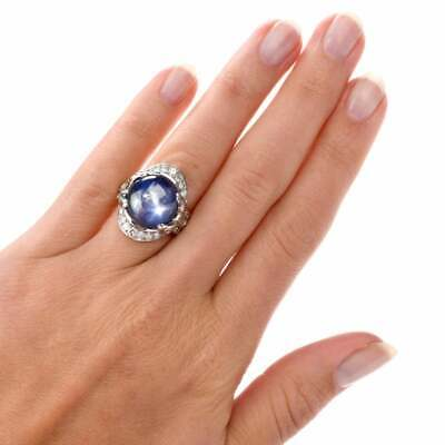 Burma Blue Star 16.00CT Sapphire With Sparkling 1.48CT CZ Antique Gothic Ring