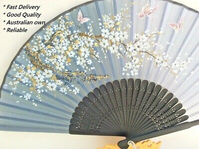 Japanese Silk Hand Fan - Cherry blossom n Sakura with Silk Fan Holder SSF016