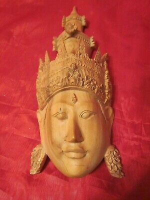 "Hand Carved Wooden ""Hindu Goddess Face"""