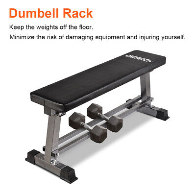 OneTwoFit Flat Weight Bench Ab Workout with Dumbbell Rack 660lbs Capacity OT070