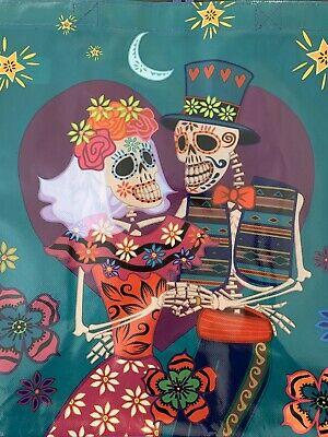 Dia De Los Muertos Sugar Skull Bride & Groom Day Of The Dead Reusable Tote Bag.
