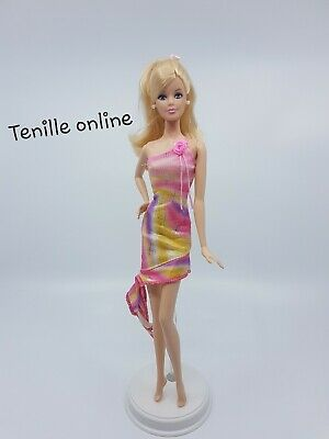 New Barbie doll clothes fashion outfit dress short pink flower one strap