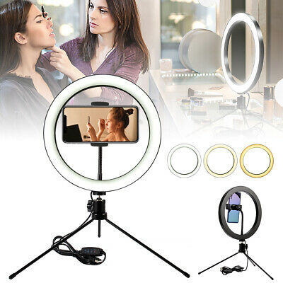 10'' LED Selfie Studio Ring Light Photo Lamp Dimmable+Tripod Stand Phone Holder