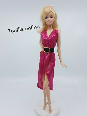 New Barbie doll clothes fashion outfit dress belt shiny long metallic pink