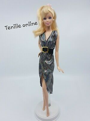 New Barbie doll clothes outfit dress belt shiny long metallic silver black gold