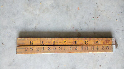 Vintage Wood Imperial Measuring Rule - folding 1 yard