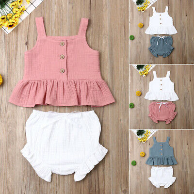 AU Toddler Kid Baby Girl Ruffle Sling Top Short Pants 2PCS Outfit Clothes Summer