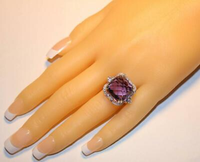 Fine 15.83 Carats Fancy Amethyst With Brilliant Round Cut CZ Stunning Class Ring