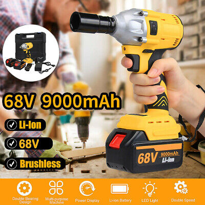 68V 9000mAh Brushless Cordless Impact Wrench Drilling 2 Li-Ion Battery Charger