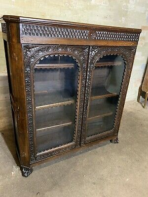 Antique Carved Solid Oak Colonial Style Bookcase Gothic. Delivery Available