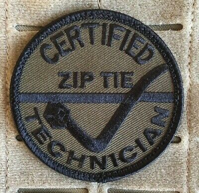 Zip Tie, Patch, SAS, Military, Army, SWAT, OD Green, Subdued, Morale.