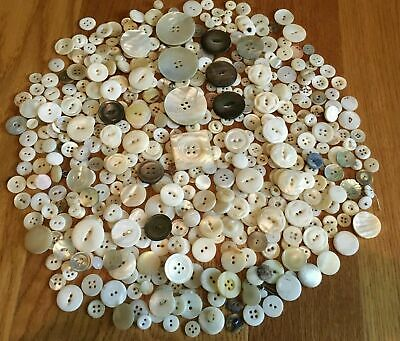 Over 500 Vintage Mother Of Pearl Abalone Buttons Lot Some Carved