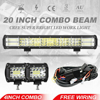 20inch LED Light Bar + 4'' CREE Tri-row Spot Flood Offroad Work Driving Lamp 4WD