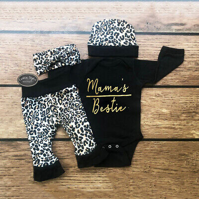 Newborn Infant Baby Girl Leopard Outfit Clothes Romper Tops+Pants+Headband Set