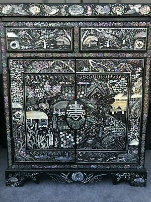 Vtg Rare Black Lacquer Mother Of Pearl Inlay Asian Chinese Jewelry Cabinet