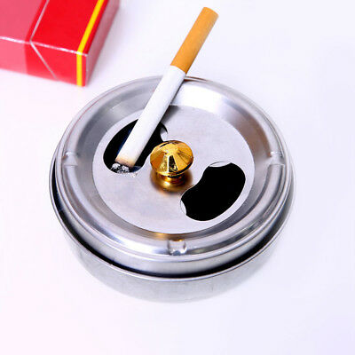 EE_ BL_ Home Car Smoking Ashtray Lid Rotation Fully Enclosed Stainless Steel Str