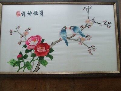 """Superb Chinese Embroidery Exotic Birds & Flowers Allans Duke Street London 23"""""""