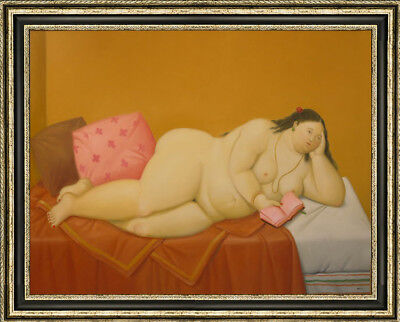 FRAMED CANVAS PAINTING Of Naked Fat Lady Woman Eating On Bed