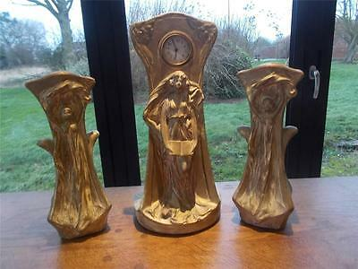 Gilded 3 pc ART NOUVEAU Signed Austrian Wien Vienna Clock Garniature 2 Vases 17""