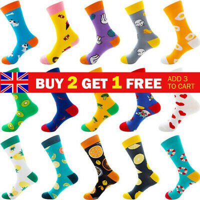 Mens Combed Cotton Socks Funny Fruits Animal Casual Fashion Breathable Stocking