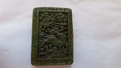 Collectable Chinese Green Brown Jade Hand Carved Animals Pendant Necklace