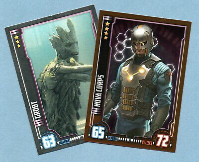 GUARDIANS OF THE GALAXY Hero Attax Marvel Cinematic Universe.- 2 trading cards