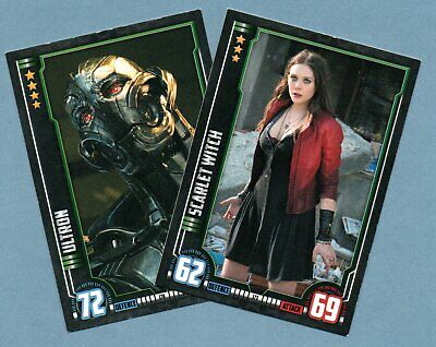 AVENGERS AGE OF ULTRON Hero Attax Marvel Cinematic Universe.- 2 trading cards