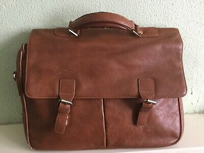 JOHN LEWIS LARGE TAN LEATHER WORK BRIEFCASE LAPTOP BAG with detachable strap