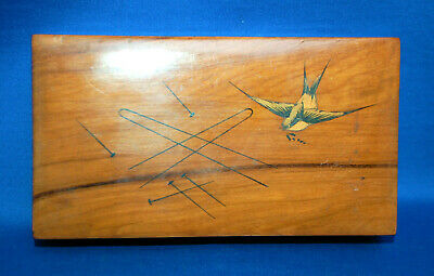 An antique Sorrento Ware style wooden hairpin box, swallow bird, hand painted